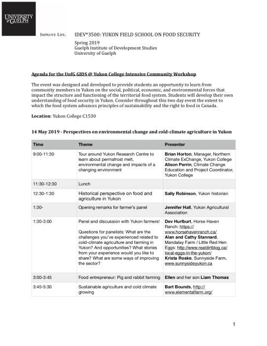 IDEV 3500 Yukon College intensive session 1